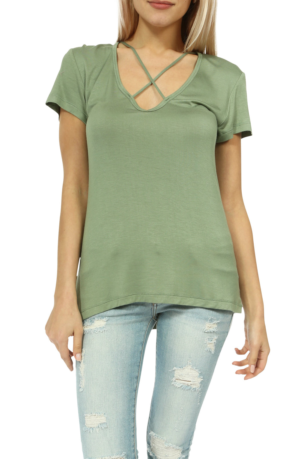 Teeze Me | Short Sleeve V Neck Cross Front Casual Top  | Olive - Teeze Me