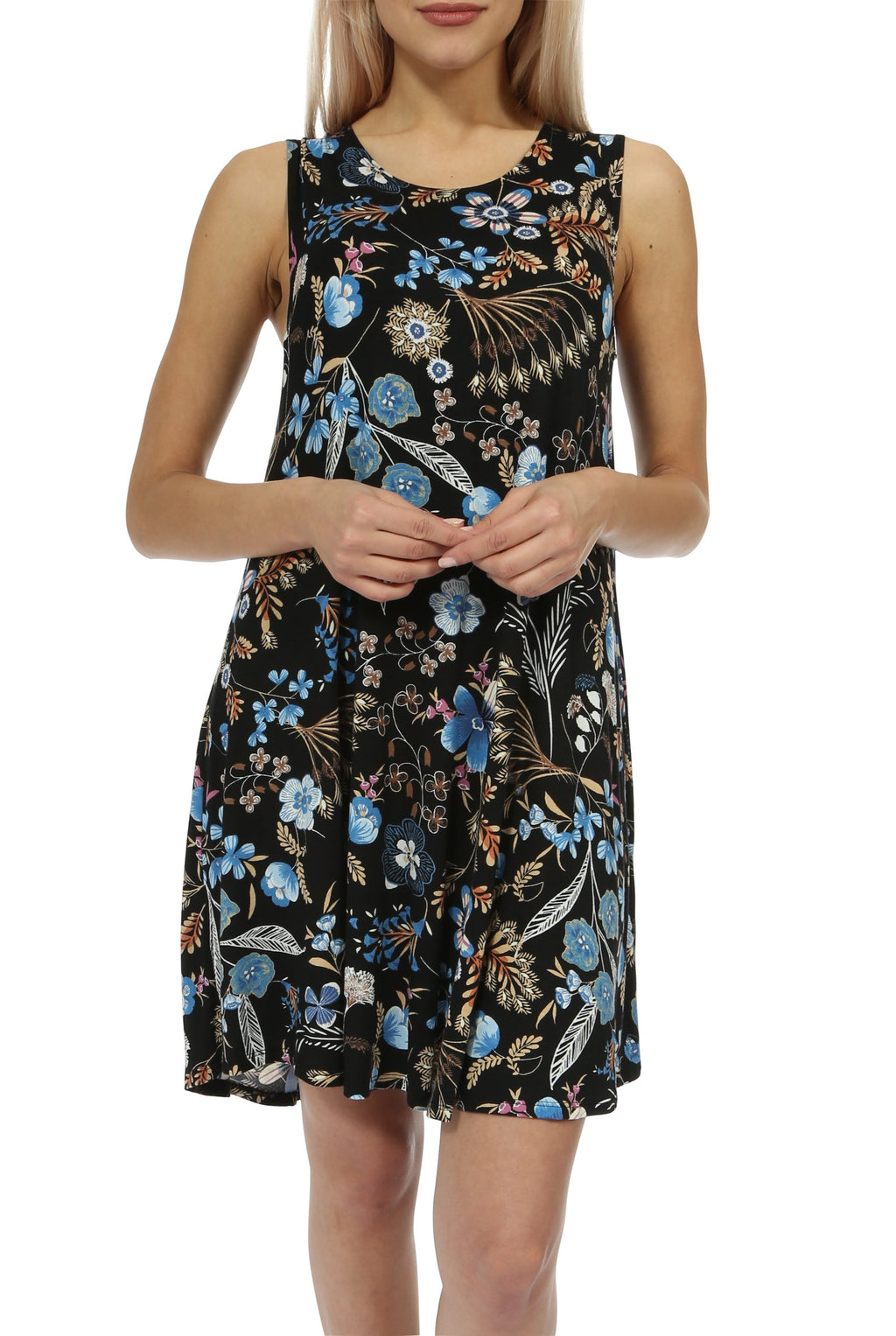 Teeze Me | Sleeveless Scoop Neck Floral Print Swing Dress | Black | Teeze Me Juniors Apparel