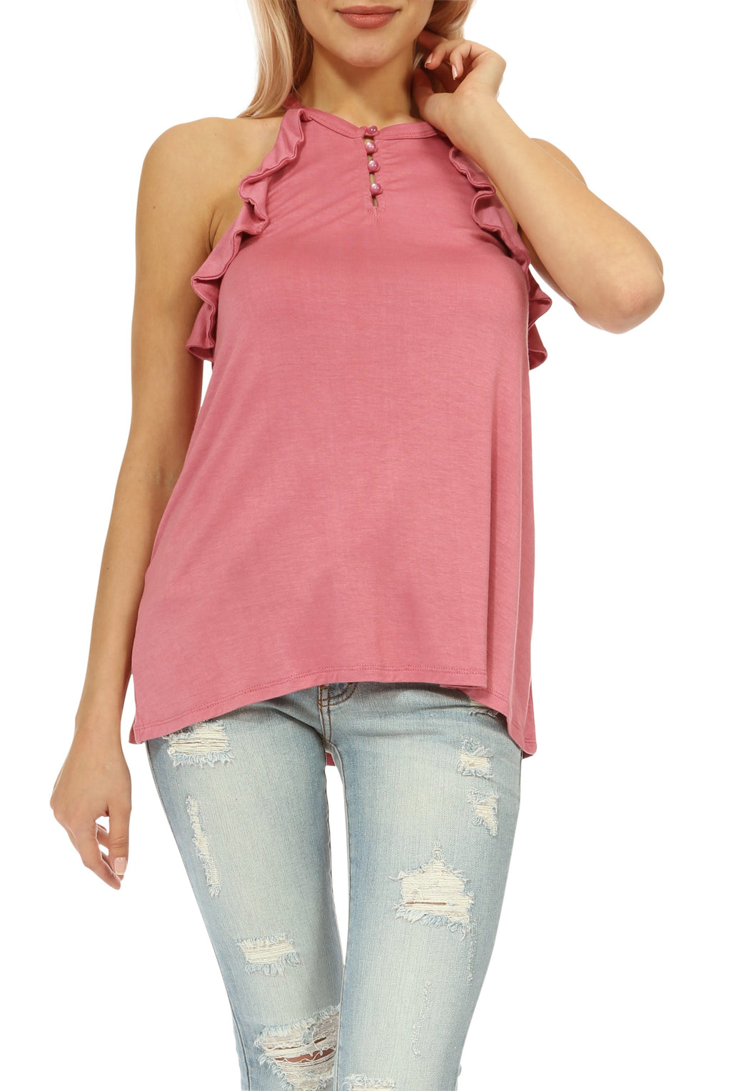 Teeze Me | Halter Armhole Ruffled Top  | Dusty Rose - Teeze Me