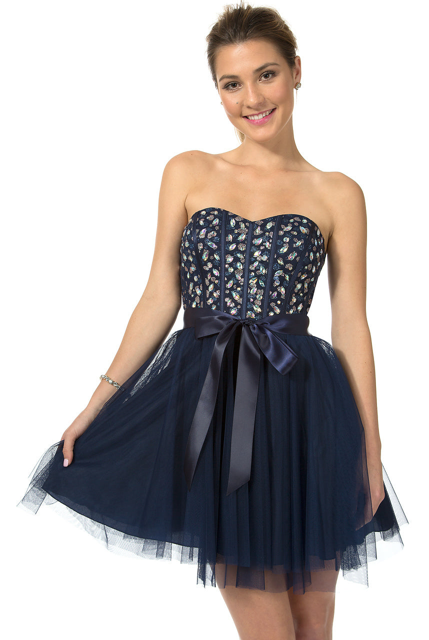 Teeze Me | Queen Colleen Strapless Corset Jewel Beaded Full Tulle Skirt Party Dress | Navy