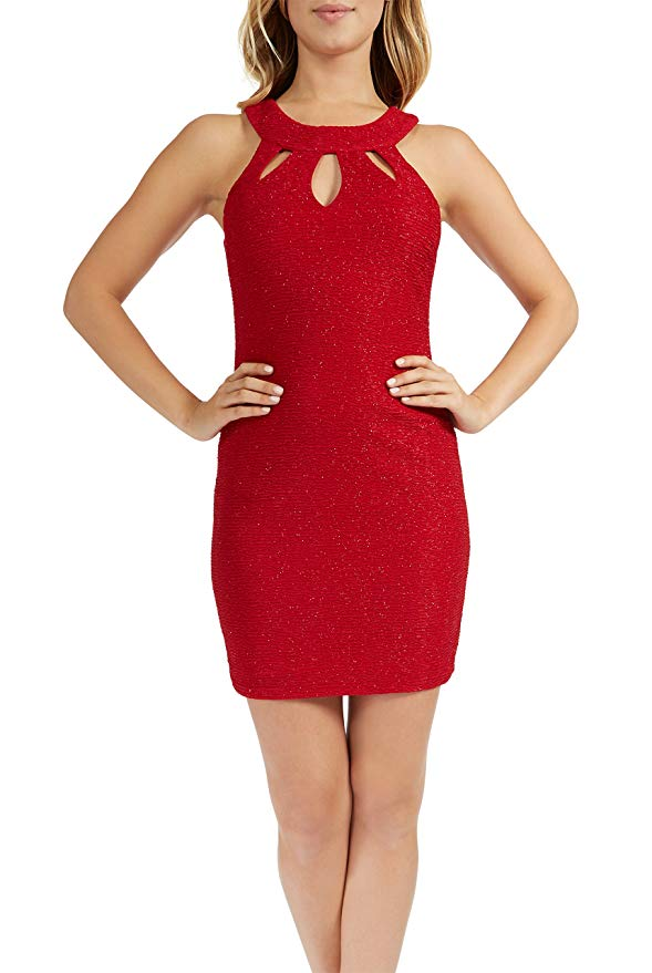 Teeze Me | Sleeveless Round Neck Glitter Knit Keyhole Front Dress  | Red - Teeze Me