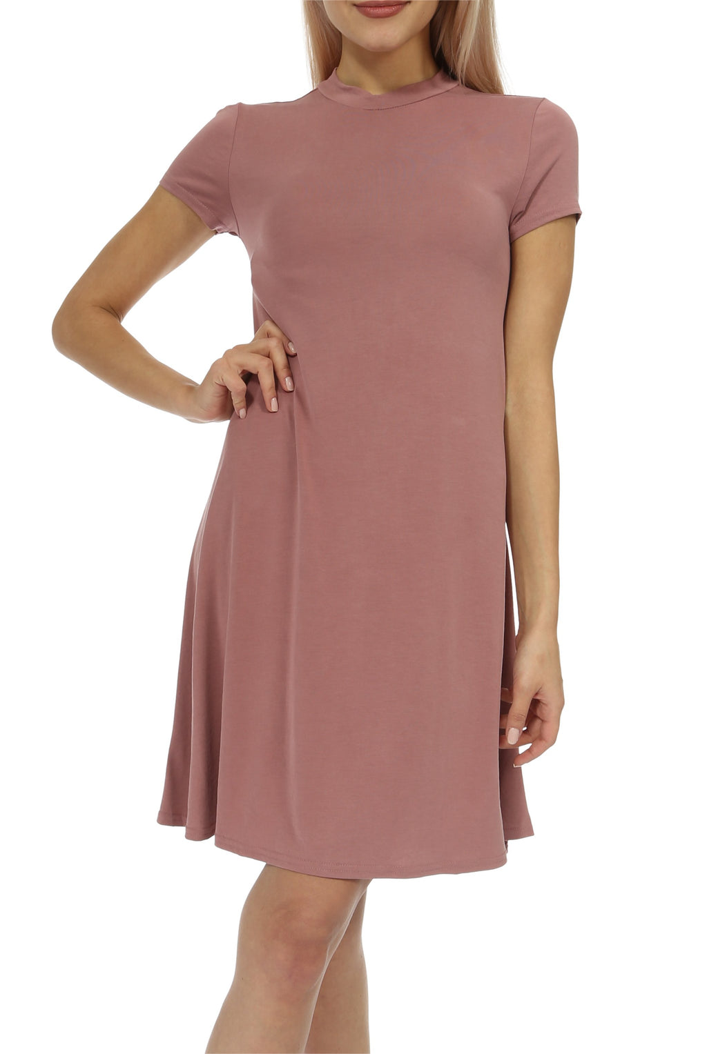 Teeze Me | Cap Sleeve Mock Neck Loose T-Shirt Dress | Vintage Rose - Teeze Me
