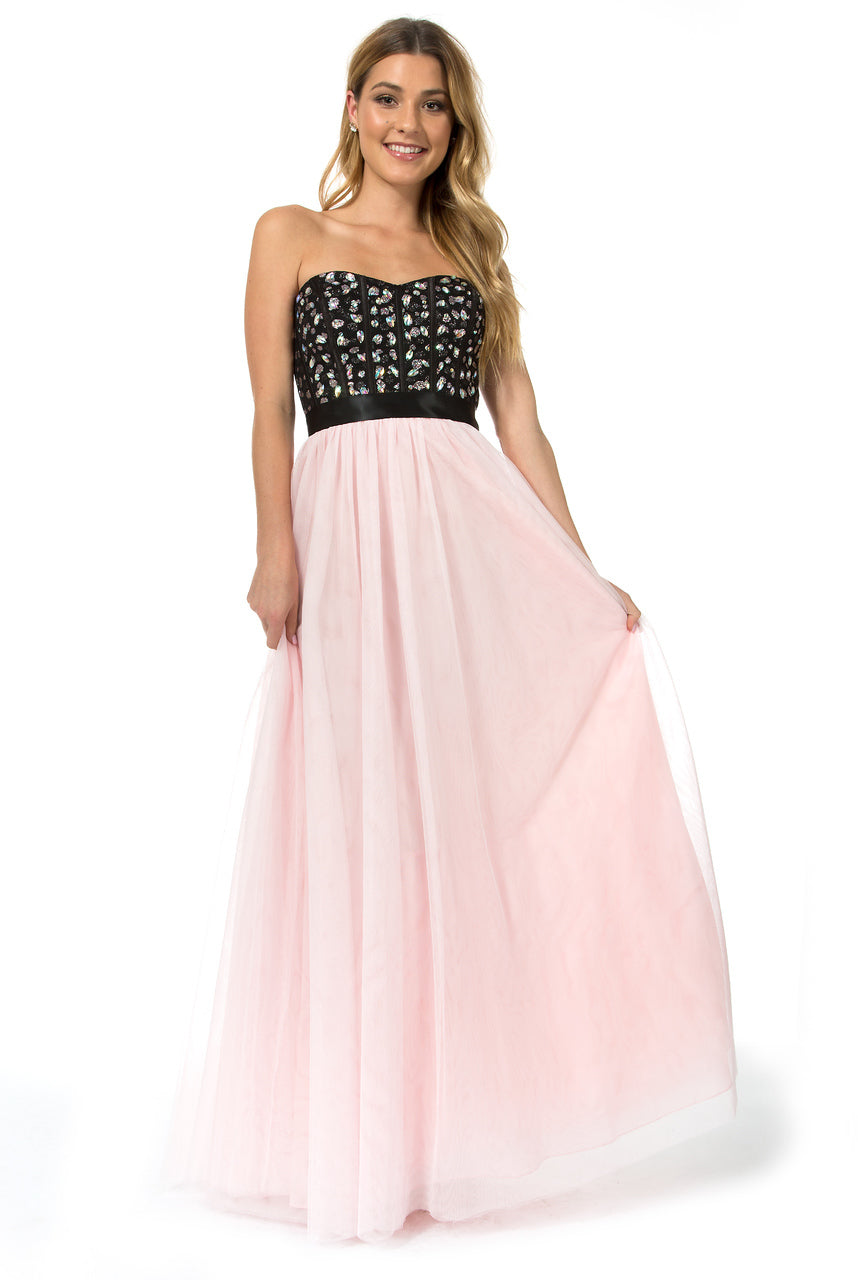 Teeze Me | Queen Colleen Strapless Corset Jewel Beaded Full Tulle Skirt Long Dress | Black/Blush - Teeze Me
