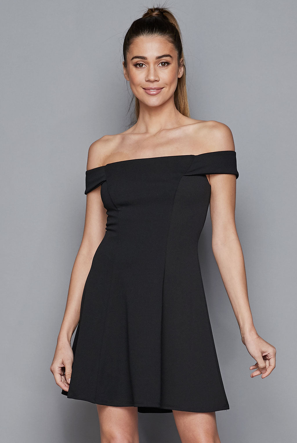 Teeze Me | Off-The-Shoulder Fit-and-Flare Dress | Black
