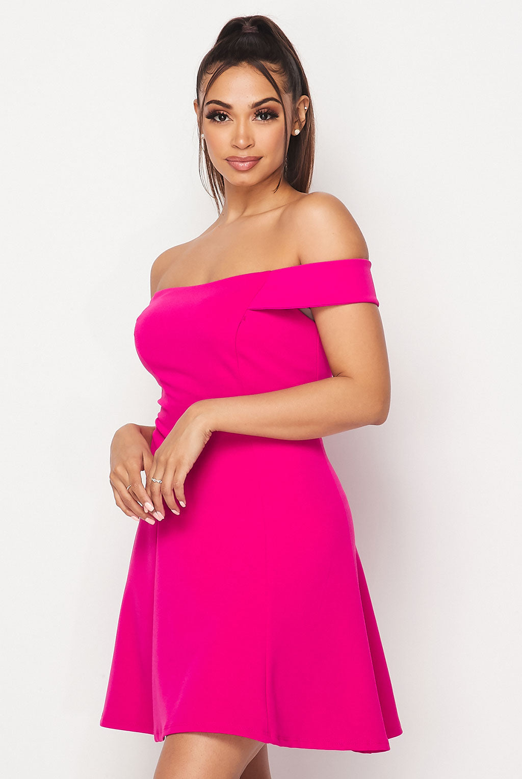Teeze Me | Off-The-Shoulder Fit-and-Flare Dress | Dhalia