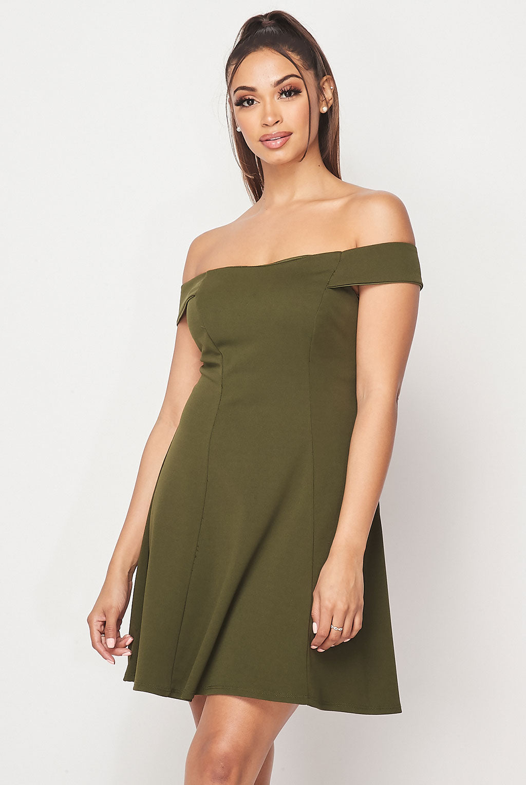 Teeze Me | Off-The-Shoulder Fit-and-Flare Dress | Olive