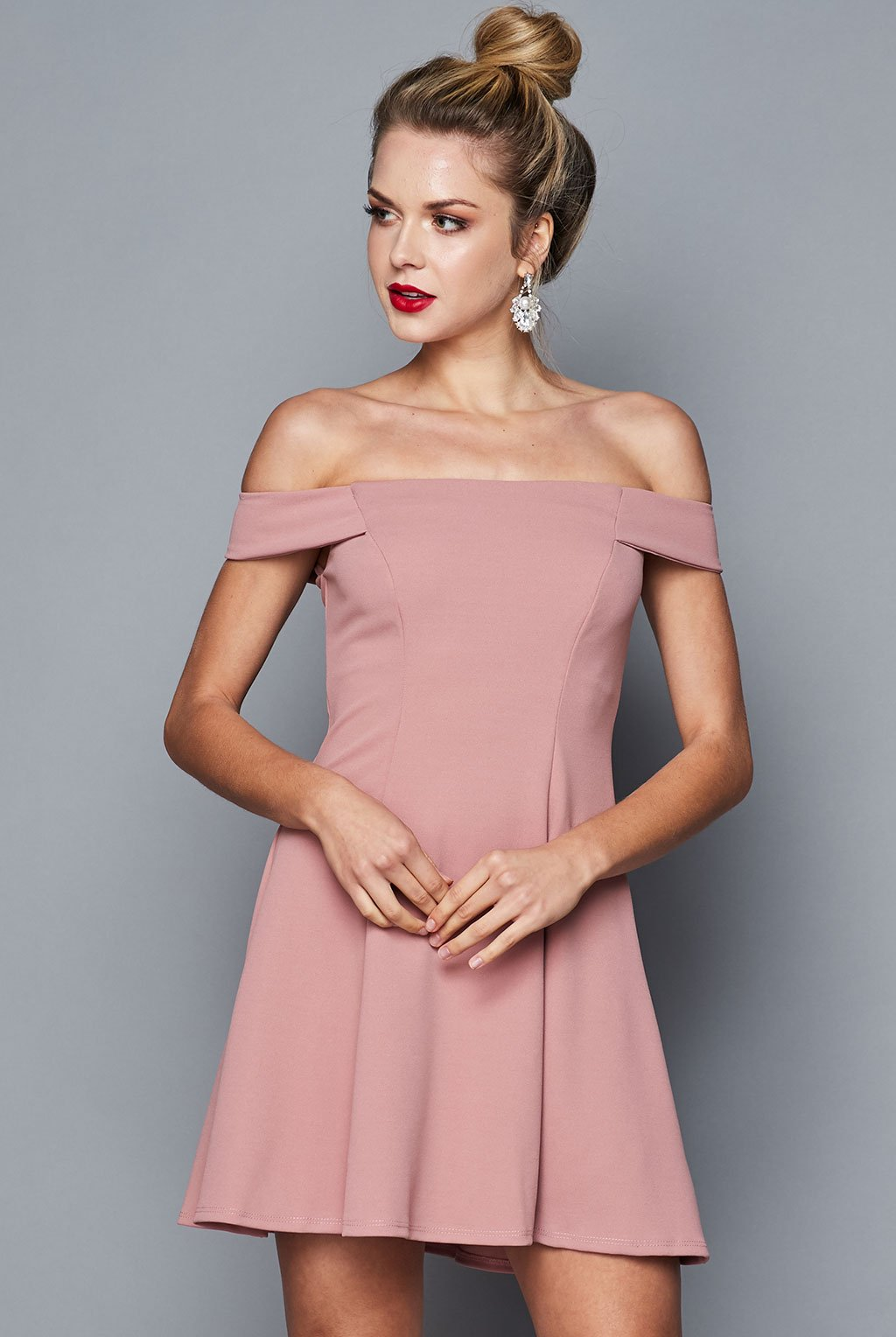 Teeze Me | Off-The-Shoulder Fit-and-Flare Dress | Mauve