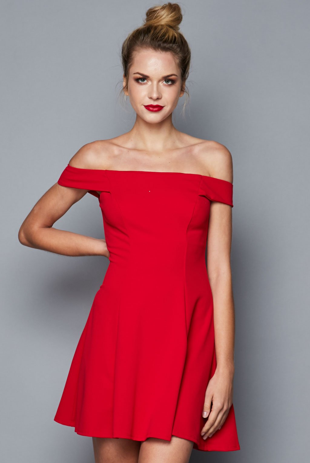 Teeze Me | Off-The-Shoulder Fit-and-Flare Dress | Red