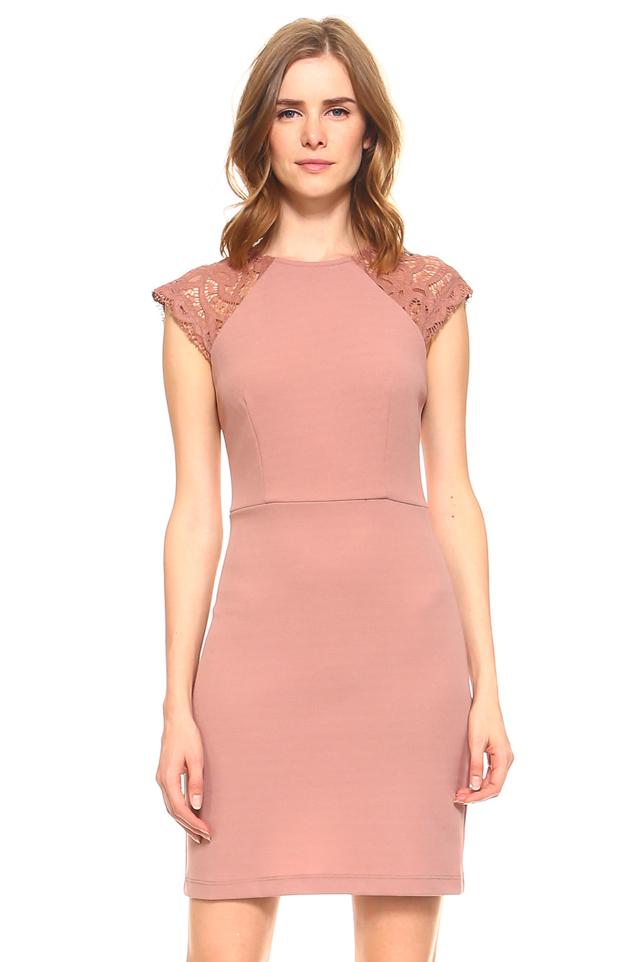 Teeze Me | Cap Sleeve Round Neck Sheath Dress  | Mauve - Teeze Me