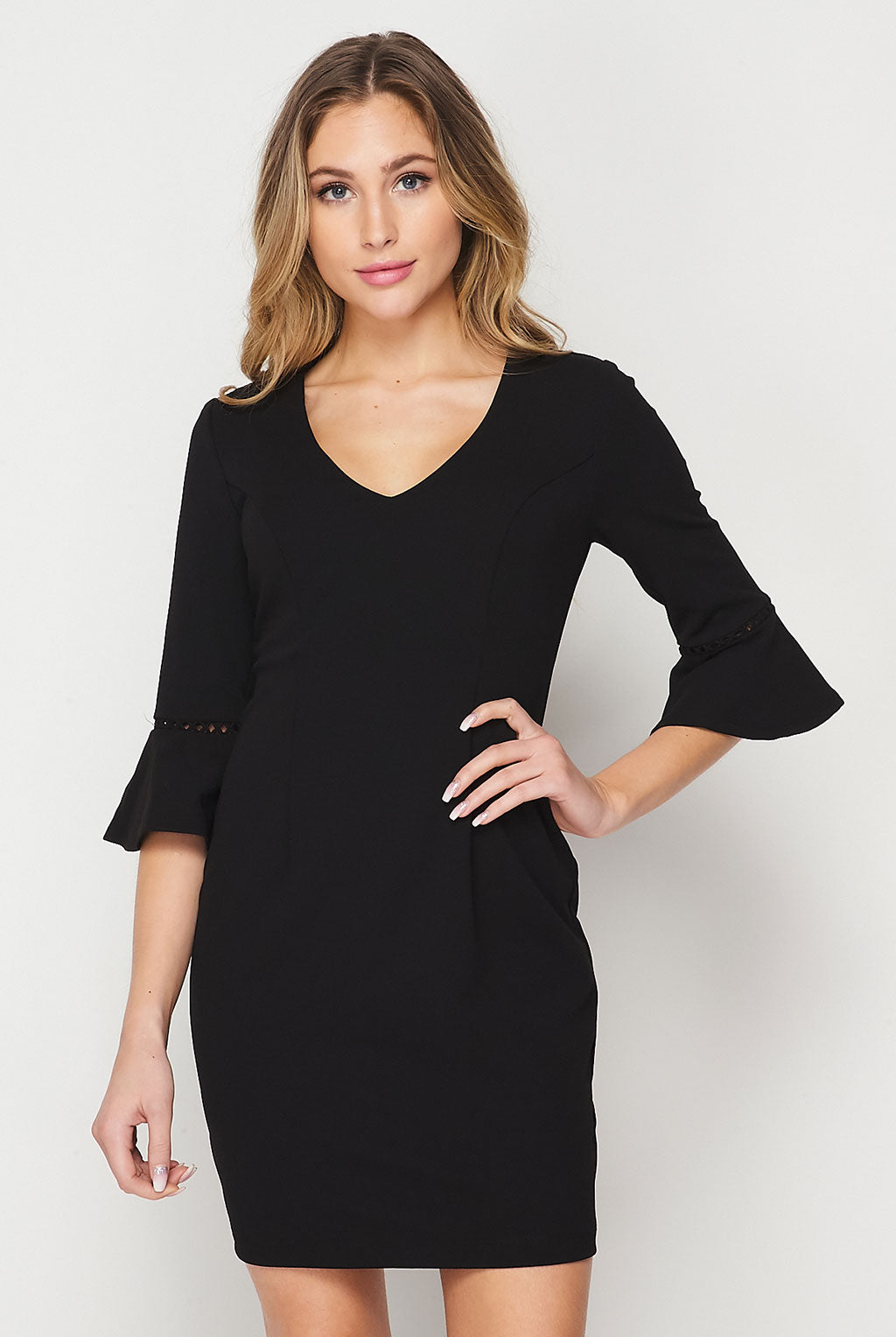 Teeze Me | Long Sleeve V-Neck Sheath Dress | Black