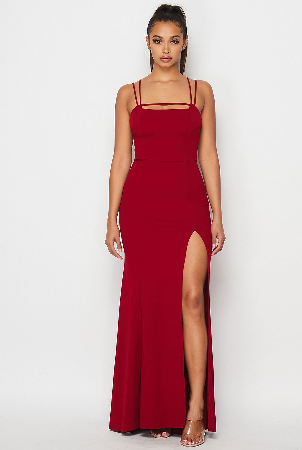 Teeze Me | Double Spaghetti Strap Front Slit Long Dress | Burgundy