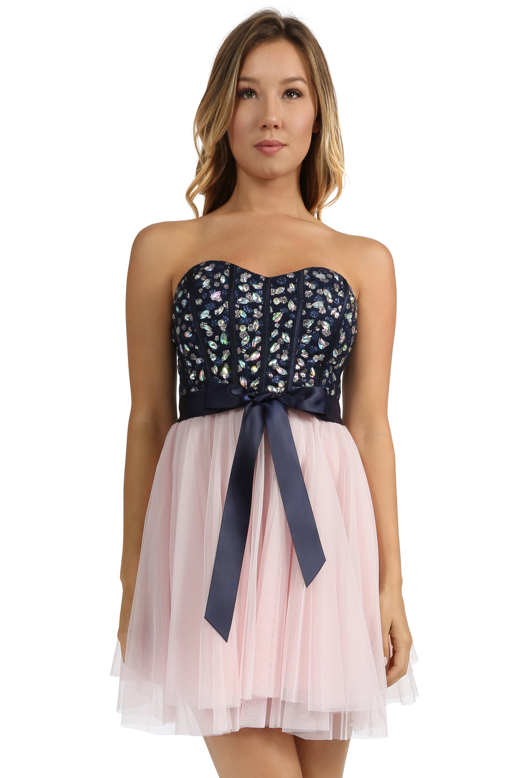Teeze Me | Queen Colleen Strapless Corset Jewel Beaded Full Tulle Skirt Party Dress | Navy/Blush - Teeze Me