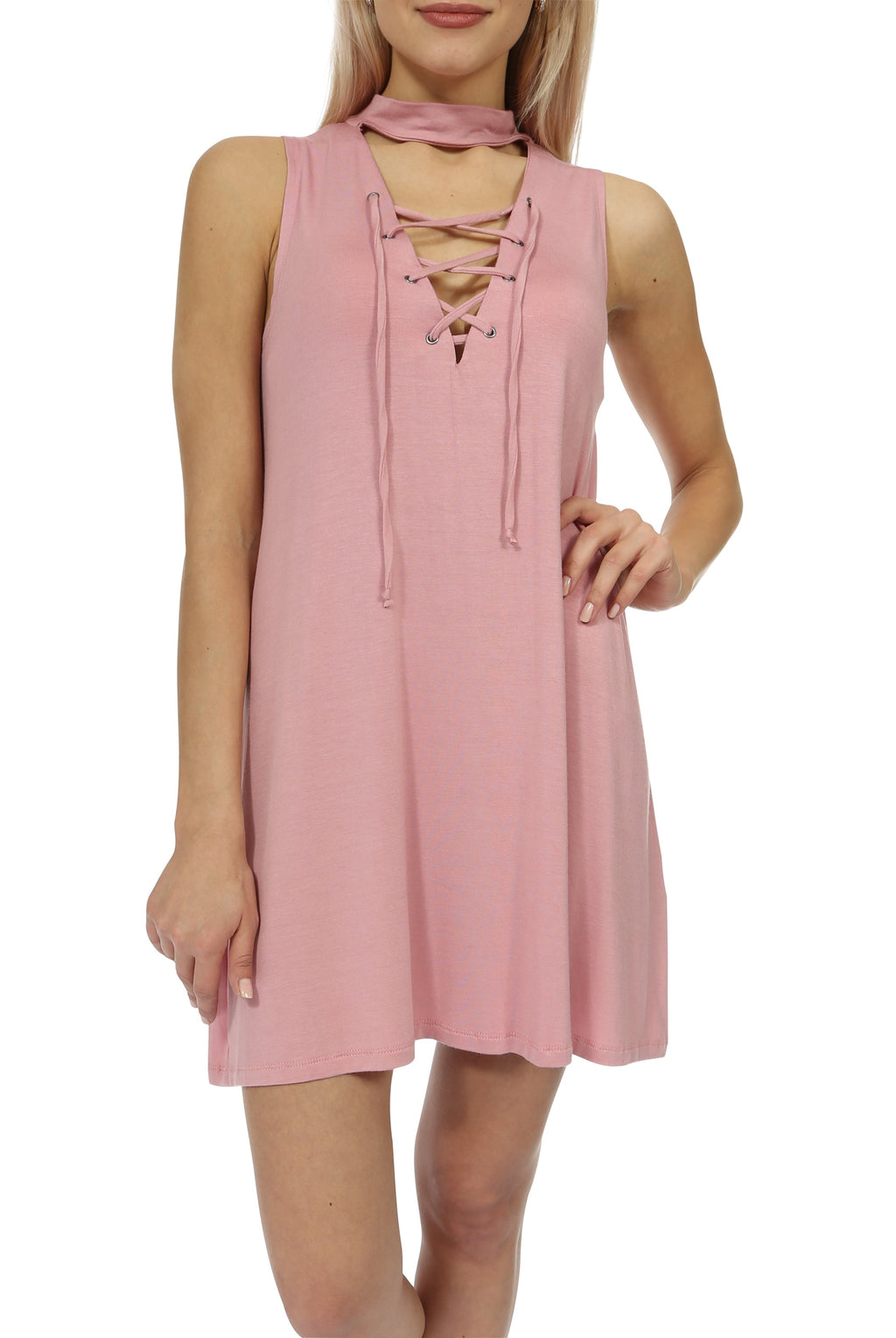 Teeze Me | Sleeveless Mock Neck Lace-Up Shift Dress | Dark Pink