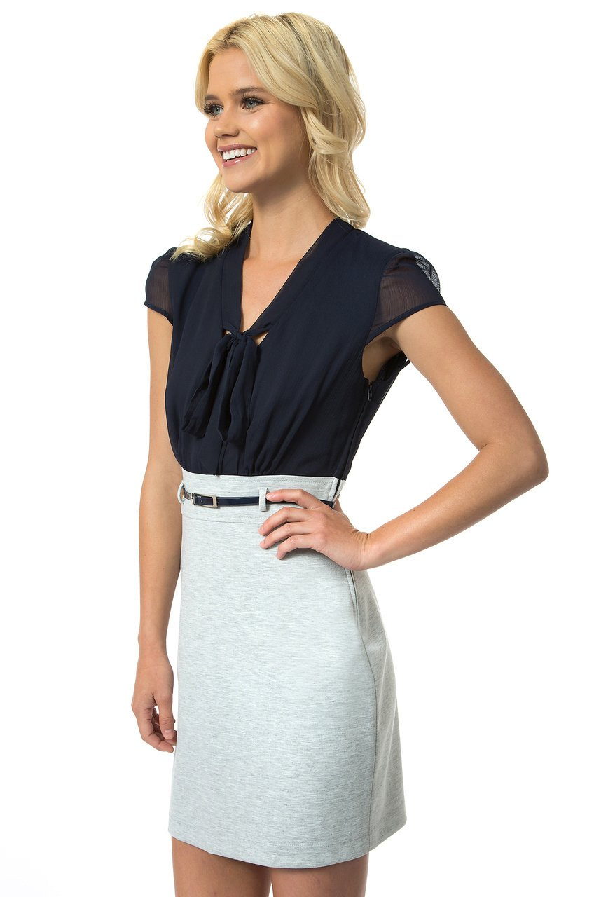 Teeze Me | Cap Sleeve Front Bow Dress | Navy/Heather Grey - Teeze Me