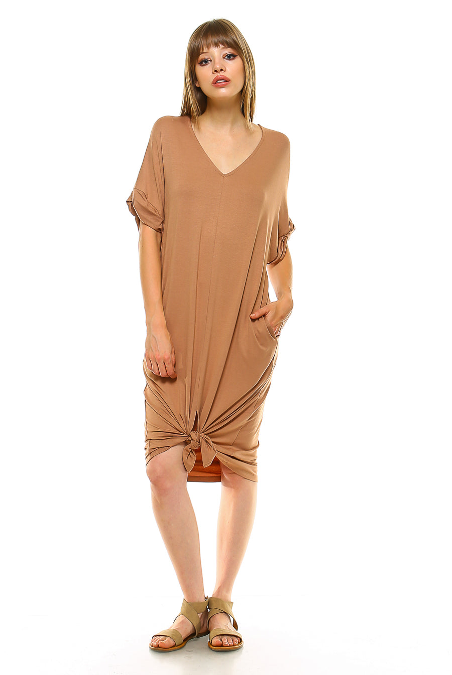 Teeze Me | Rolled-Up Short Sleeve V Neck Dress With Front Slit | Mocha