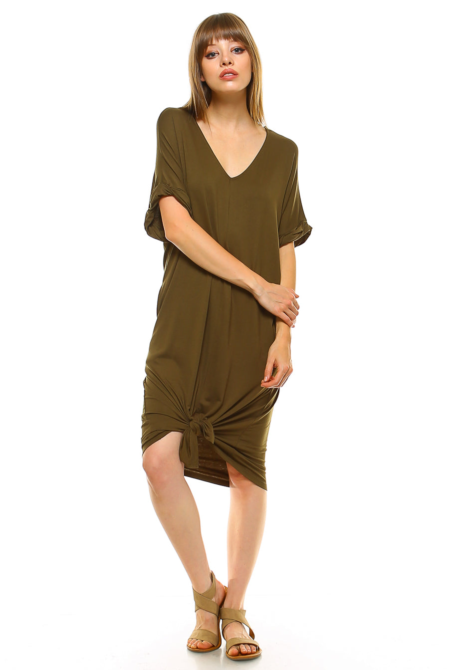 Teeze Me | Rolled-Up Short Sleeve V Neck Dress With Front Slit | Olive