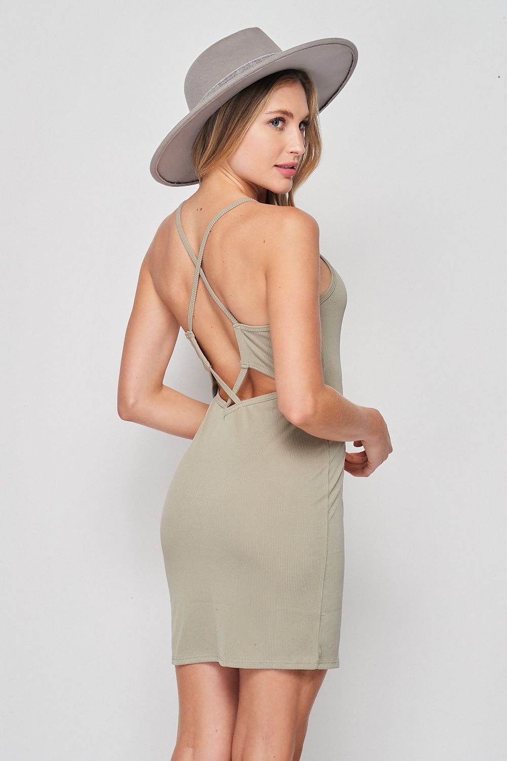 Blank Lewks | Vintage Wash Ribbed Criss Cross Back Strap Dress | Olive