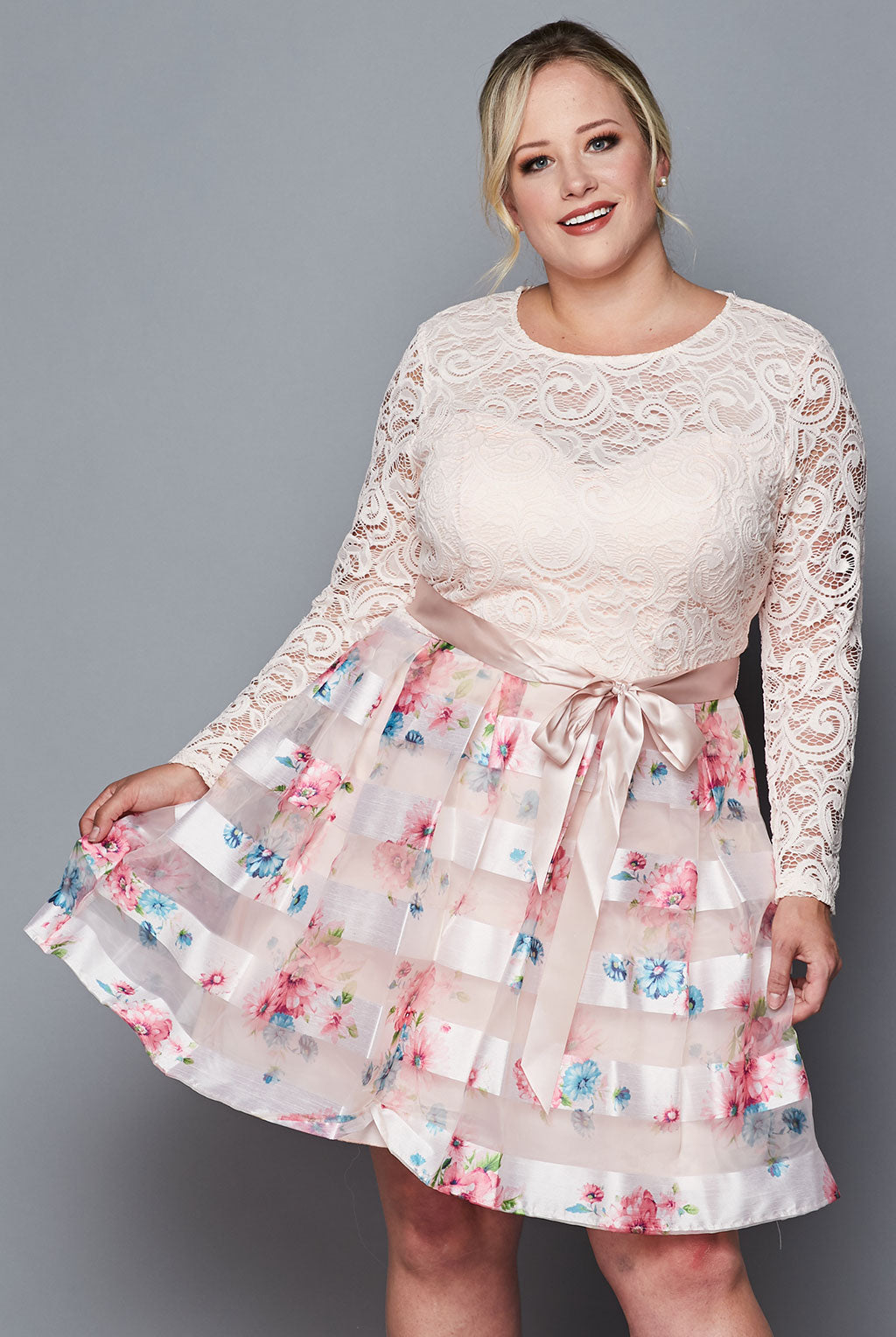 Teeze Me | Long Sleeve Lace  Floral Organza Dress Plus | Pink