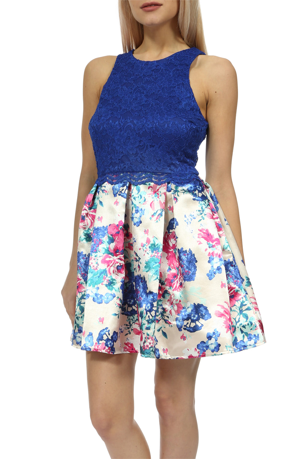 Teeze Me | Sleeveless Lace Top and Printed Skirt Dress  | Royal/Multi
