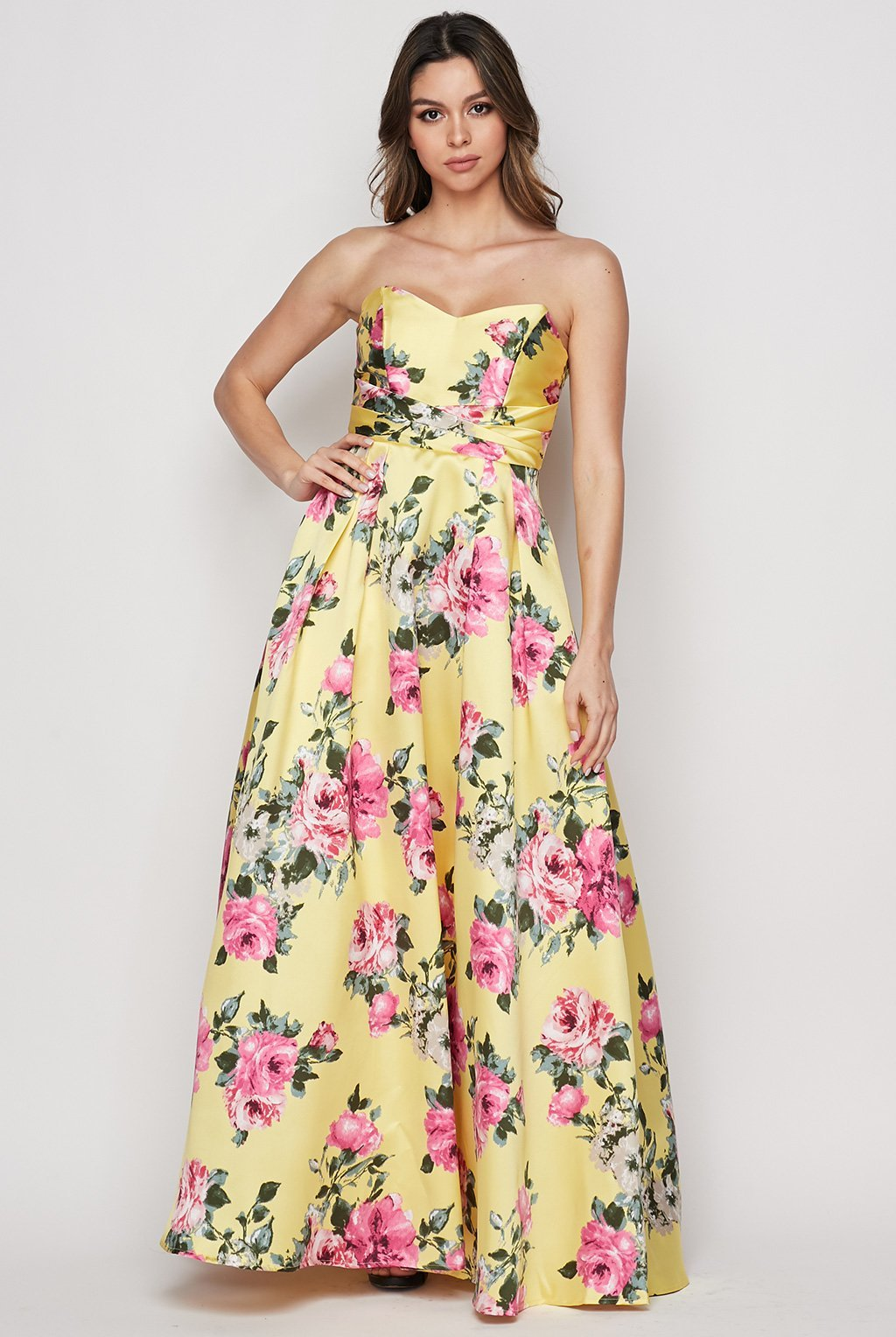 Teeze Me | Strapless Floral Print Ball Gown | Yellow