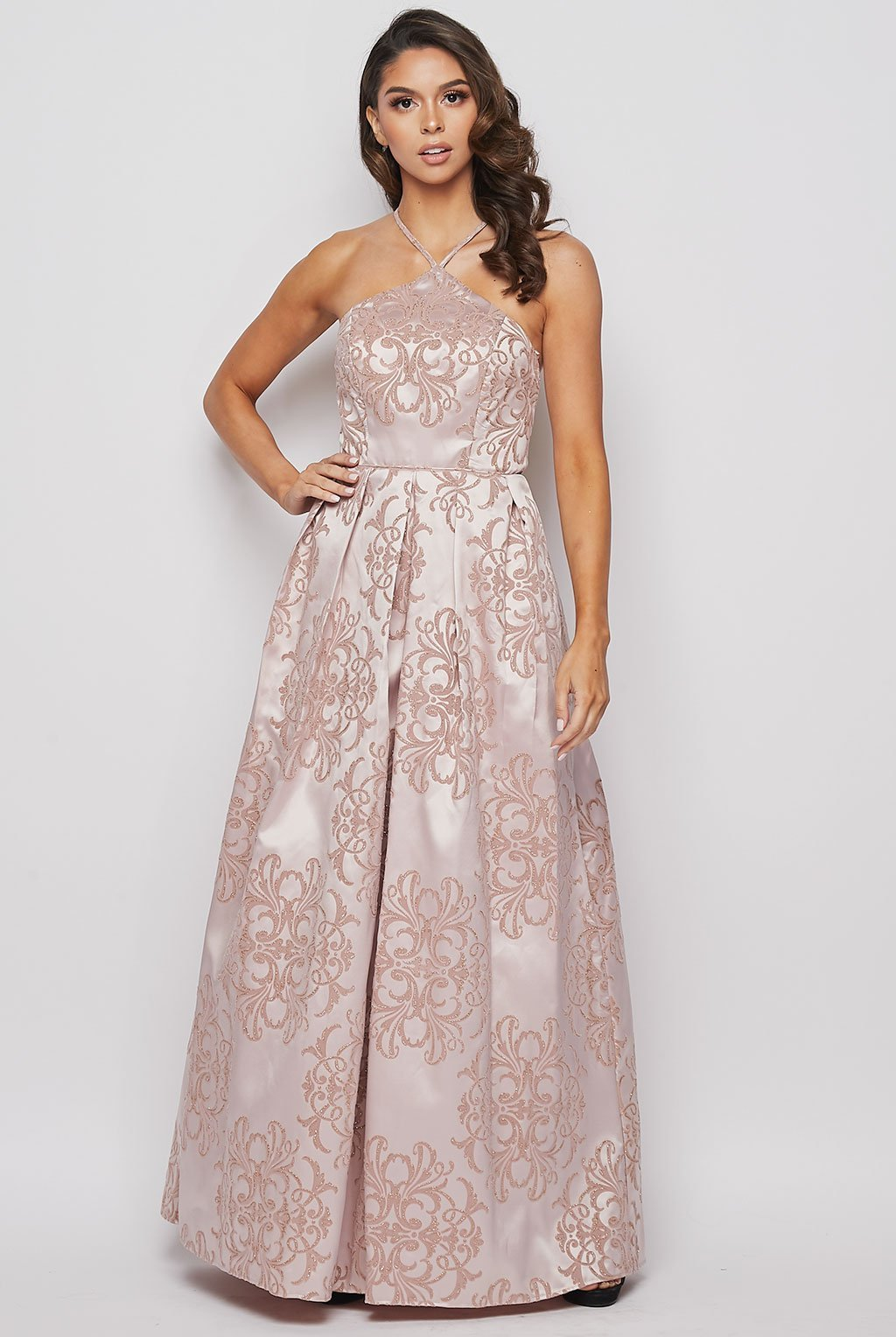 Teeze Me | Glitter-Velvet Flocked Halter Gown With Pockets | Blush