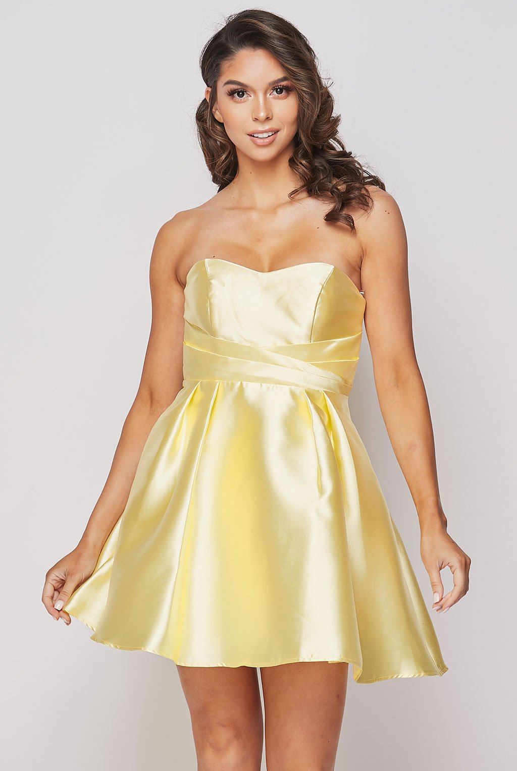 Teeze Me | Strapless Cross Waist Fit And Flare Dress | Yellow
