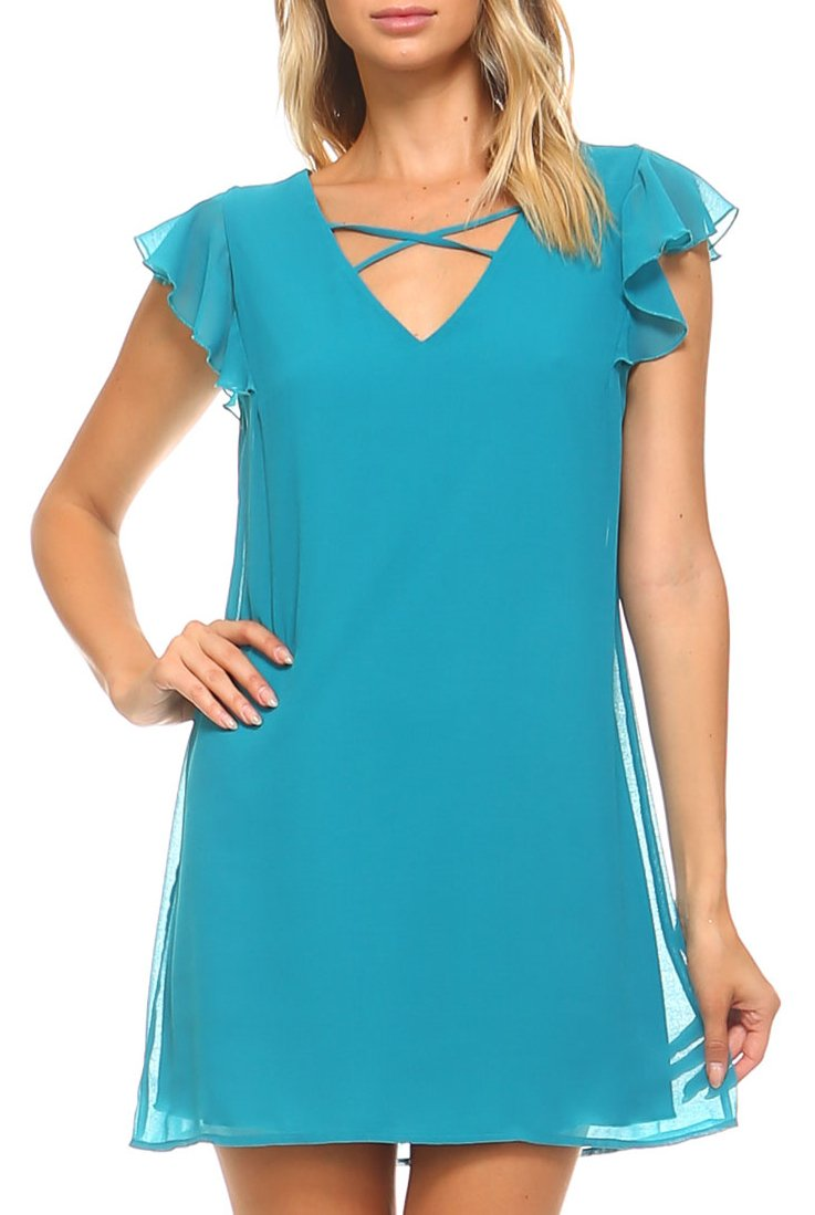 Teeze Me | Flutter Sleeve V Neck Cross Front Shift Dress  | Turquoise