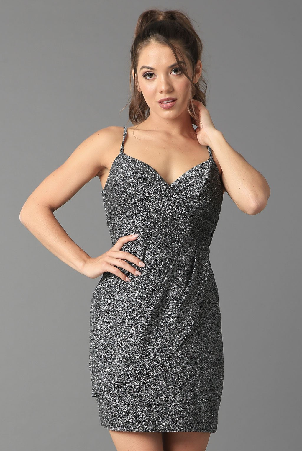 Teeze Me | Glitter Knit Sweetheart Surplice Dress | Charcoal