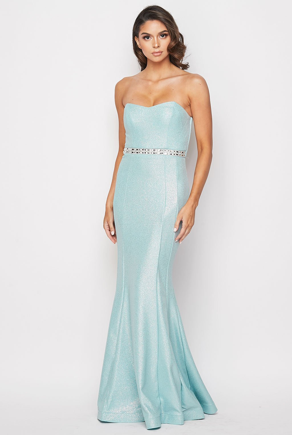 Teeze Me | Glitter Knit Strapless Mermaid Gown | Mint