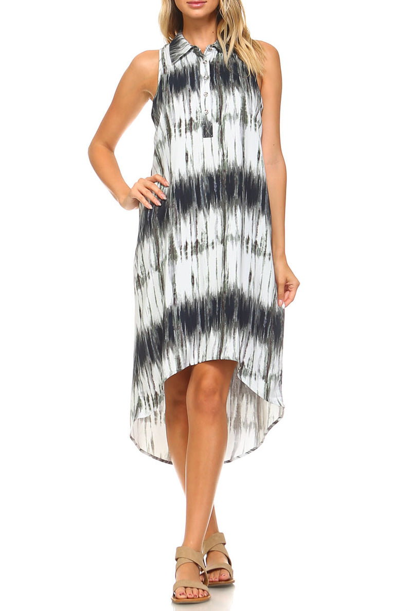 Teeze Me | Sleeveless Collared High Low Tie Dye Shirt Dress  | Navy/Multi