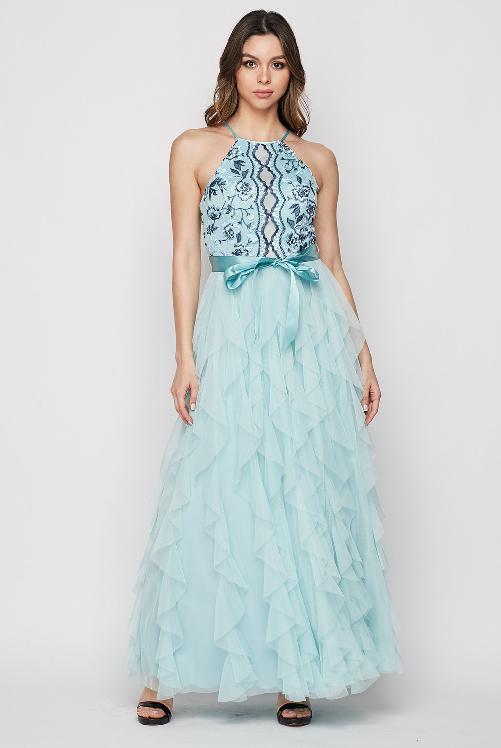 Teeze Me | Embroidered Lace With Corscrew Ruffle Mesh Gown | Teal