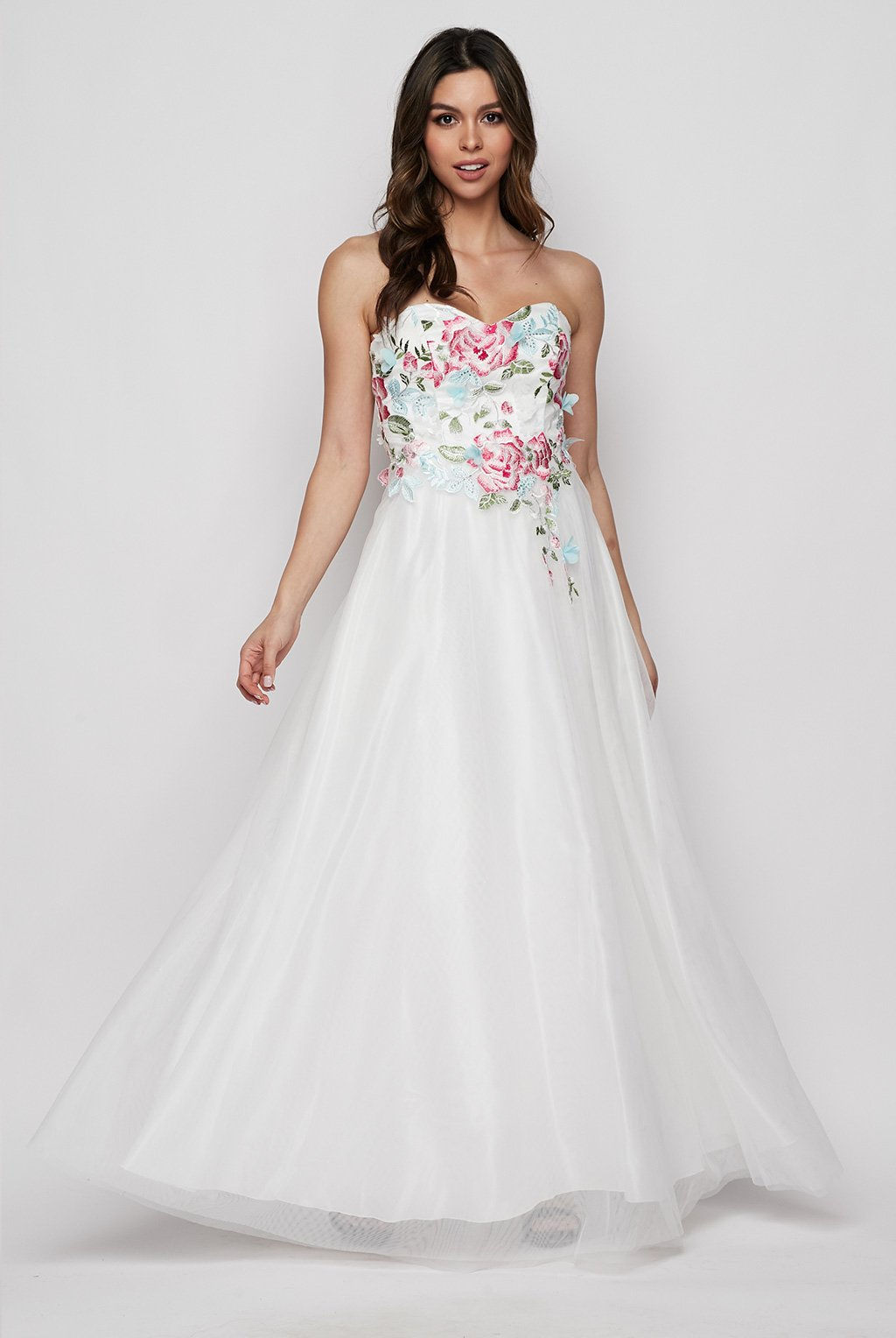 Teeze Me | Sweetheart Neckline Floral Applique Gown | White