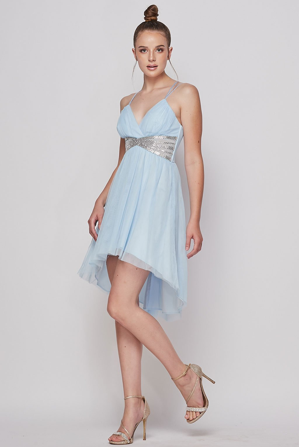Teeze Me | Jewel Waist Fit and Flare Grecian Style Dress | Ice Blue