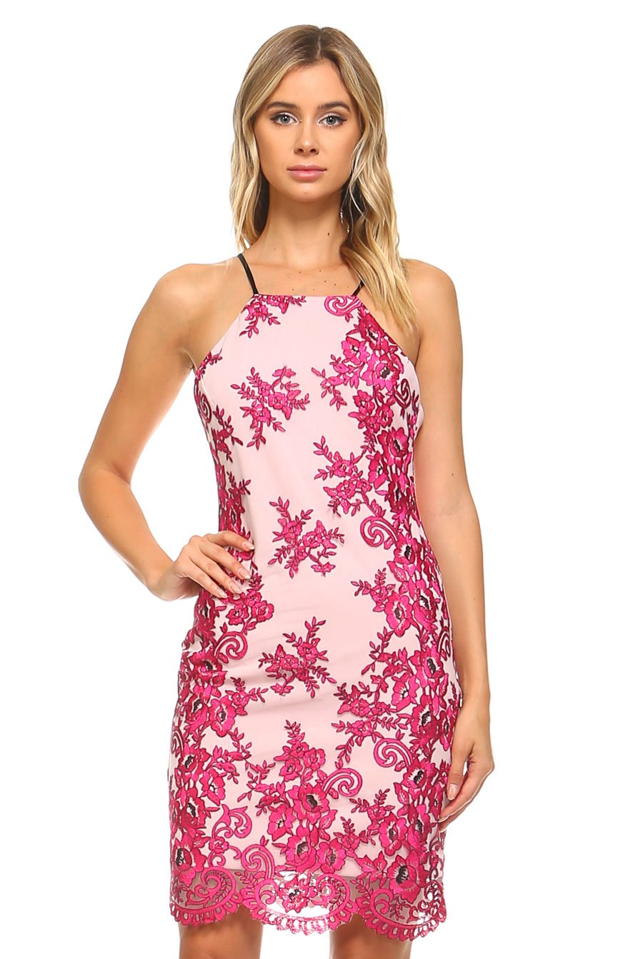 Teeze Me | Floral Embroidered Mesh Scallop Hem Dress | Pink