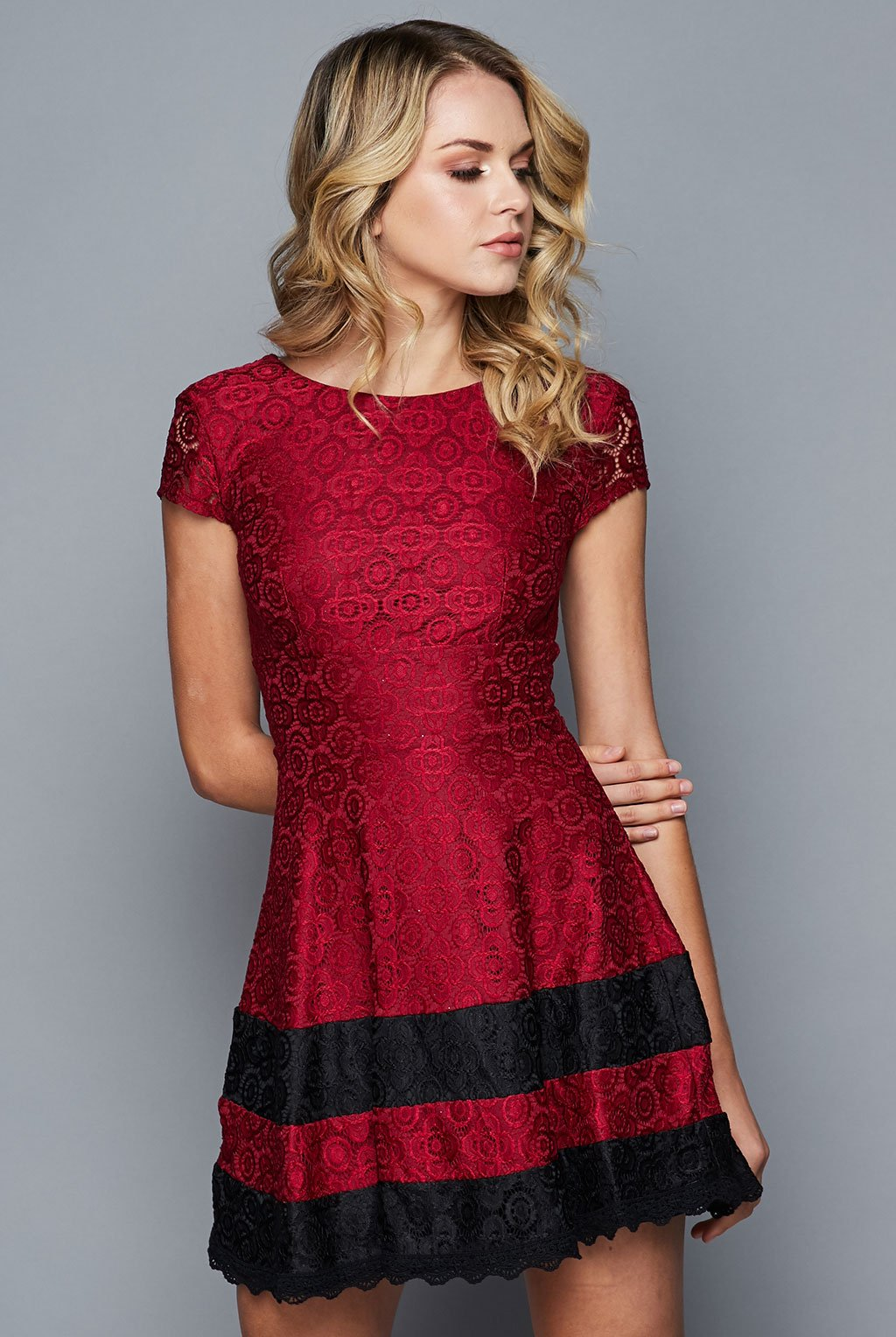 Teeze Me | Fit And Flare Lace Scallop Hem Dress  | Burgundy/Black | Teeze Me Juniors Apparel