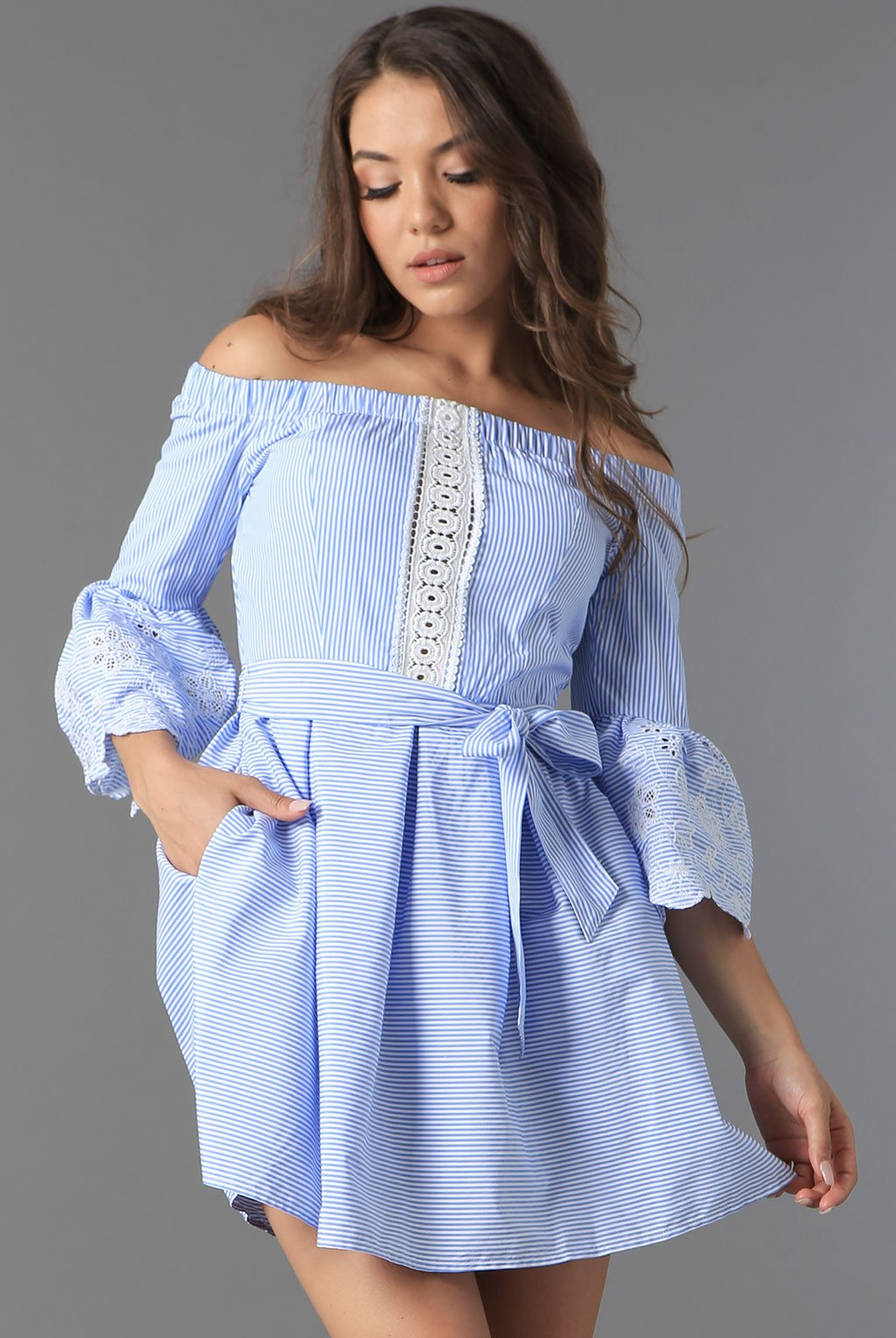 Teeze Me | Stripe 3/4 Sleeve Off The Shoulder Dress  | White/Blue