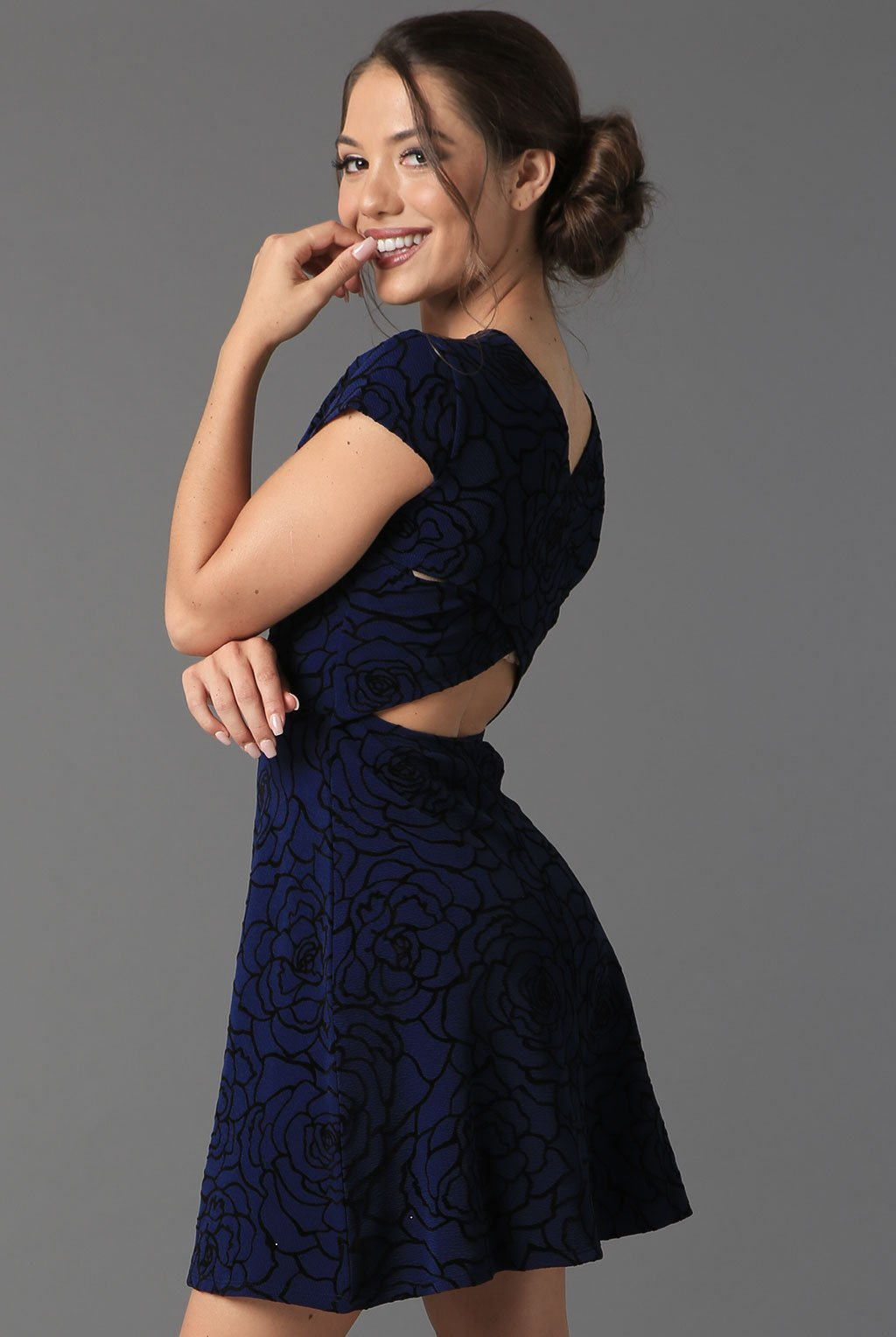 Teeze Me | Cross Back Rose Flocking Dress | Navy/Black