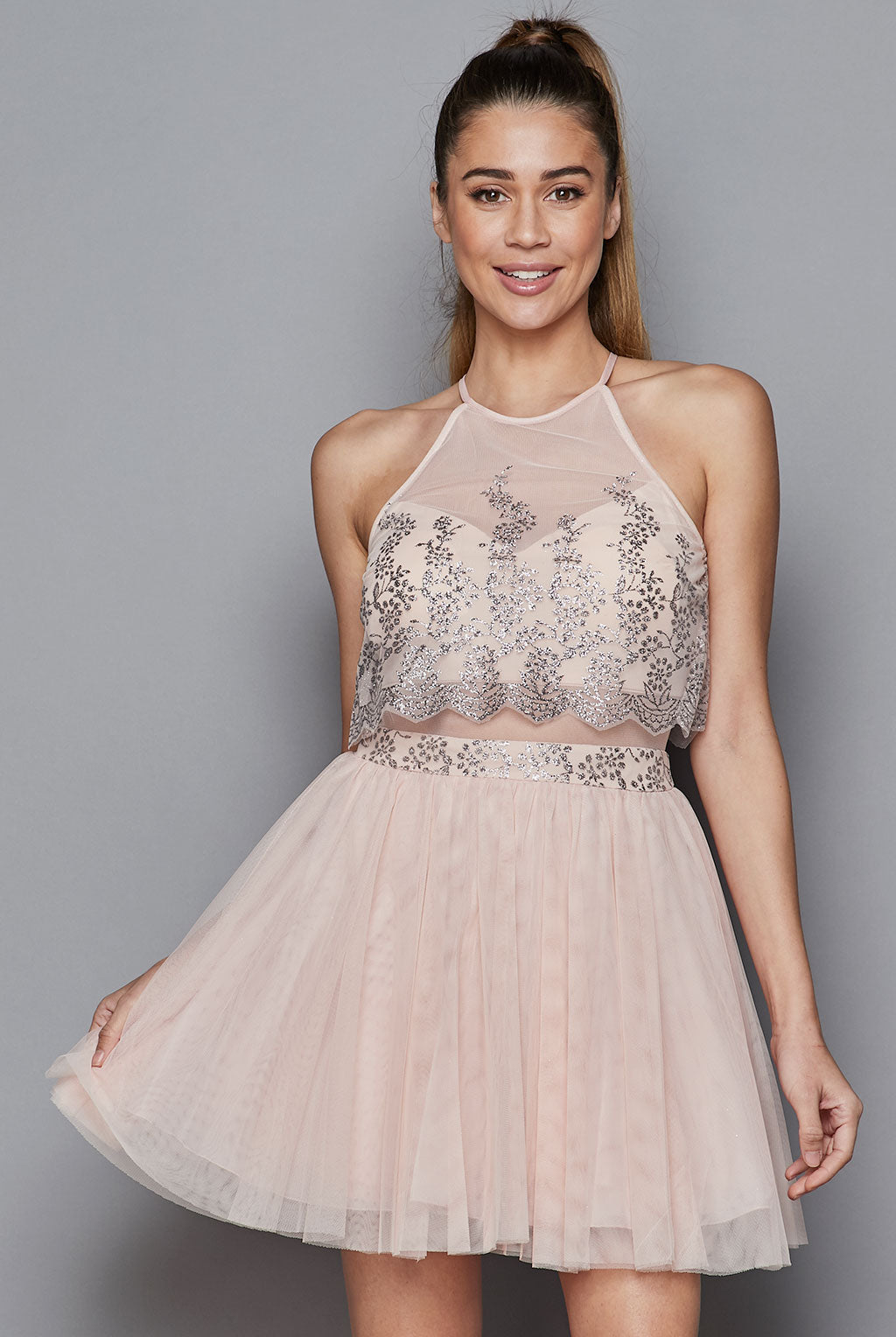Teeze Me | Halter Glitter Illusion Party Dress | Blush/Silver
