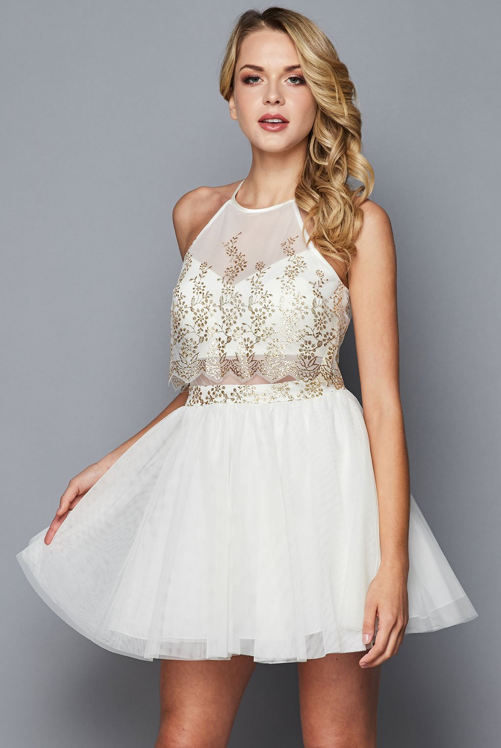 Teeze Me | Halter Glitter Illusion Party Dress | Ivory/Gold