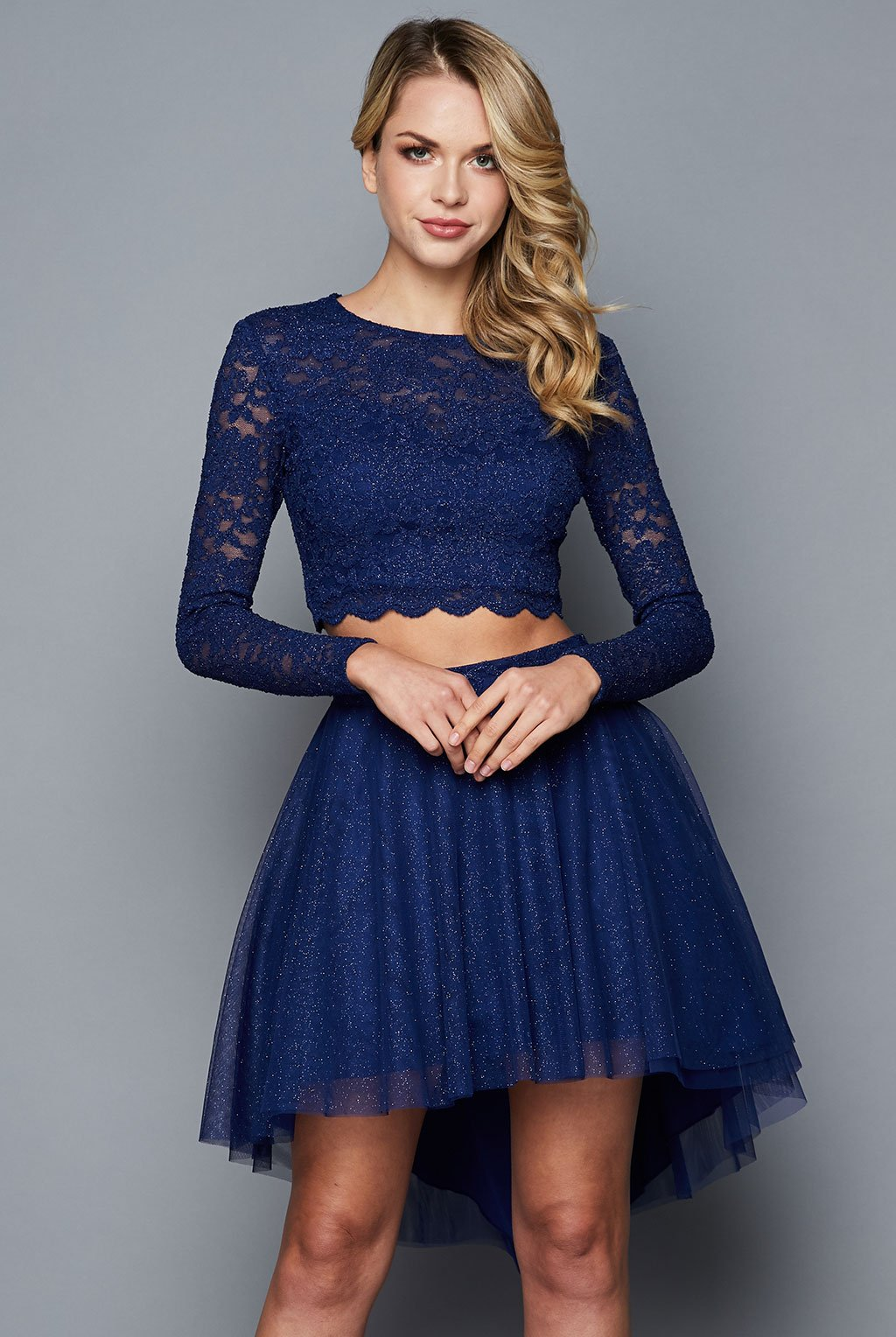 Teeze Me | Two Piece Long Sleeve Lace High Low Dress | Royal - Teeze Me