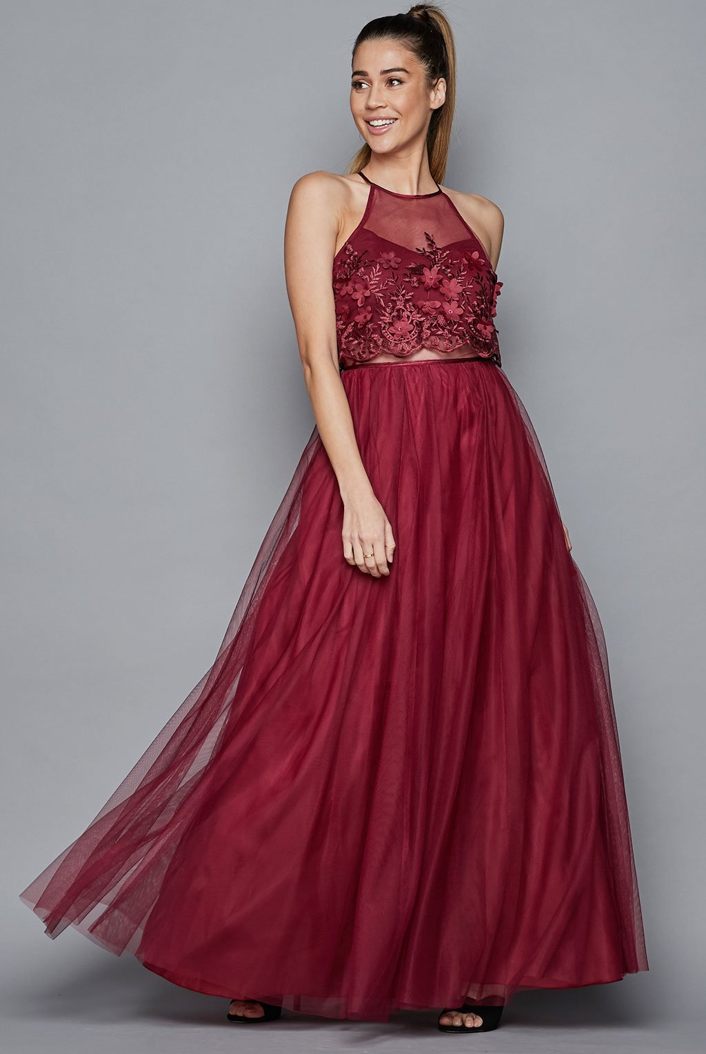 Teeze Me | Pop Over 3D Flower Embroidery Ball Gown | Burgundy