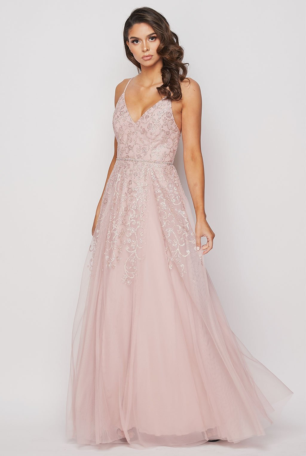 Teeze Me | Elegant Sweetheart Glitter Long Gown | Blush