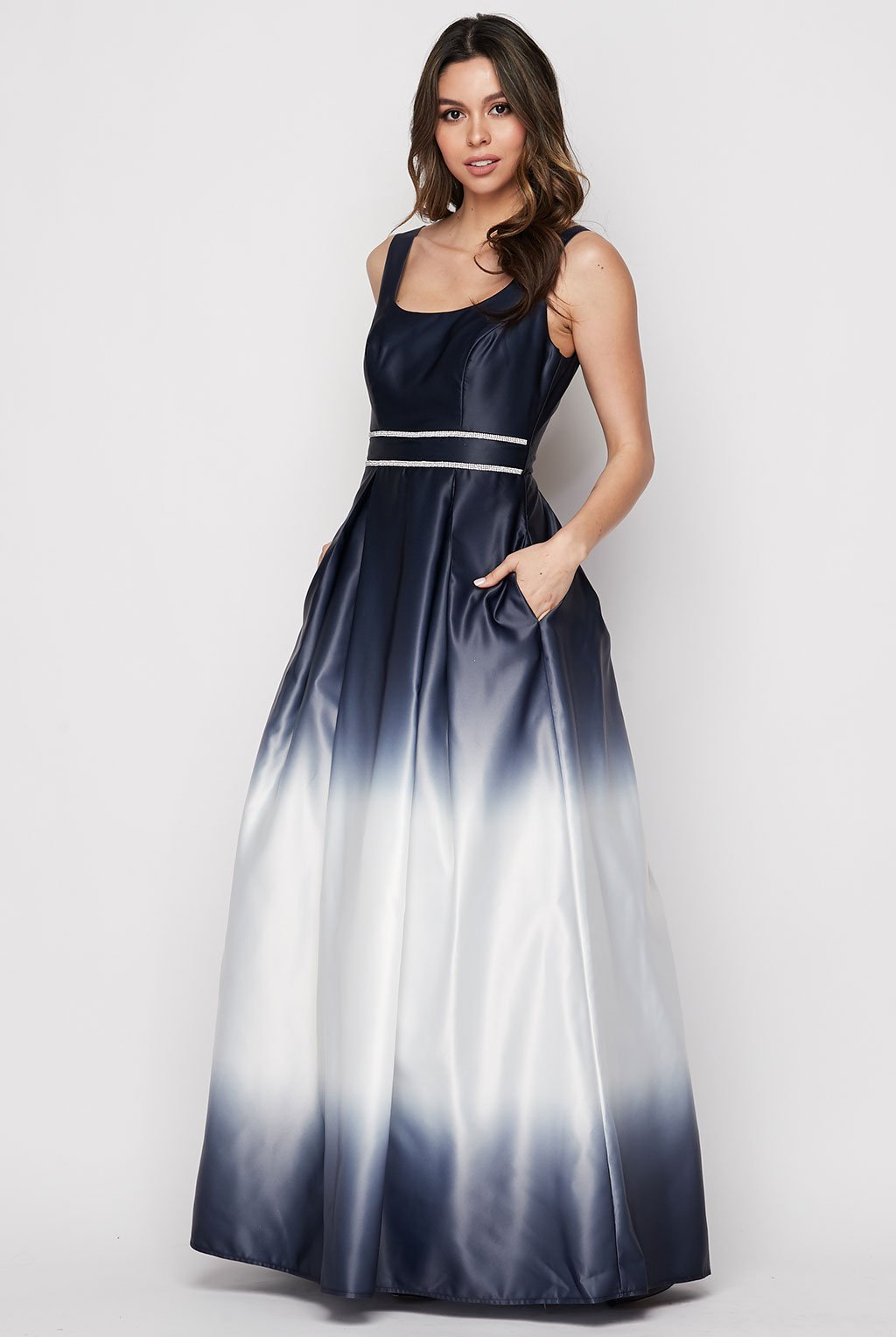 Teeze Me | Ombre Satin Ball Gown | Navy Ombre