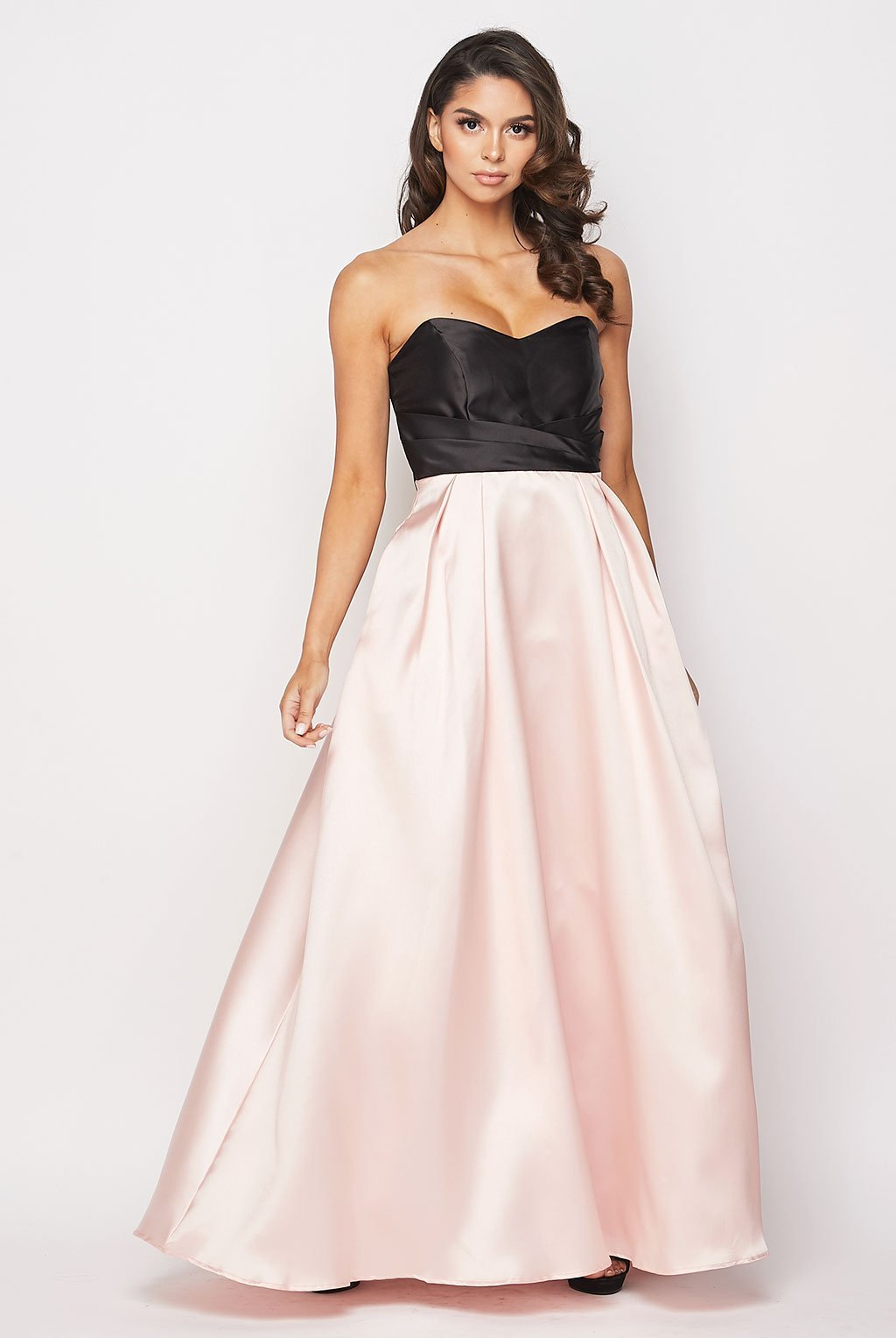 Teeze Me | Satin And Lace Ball Gown | Peach/Black