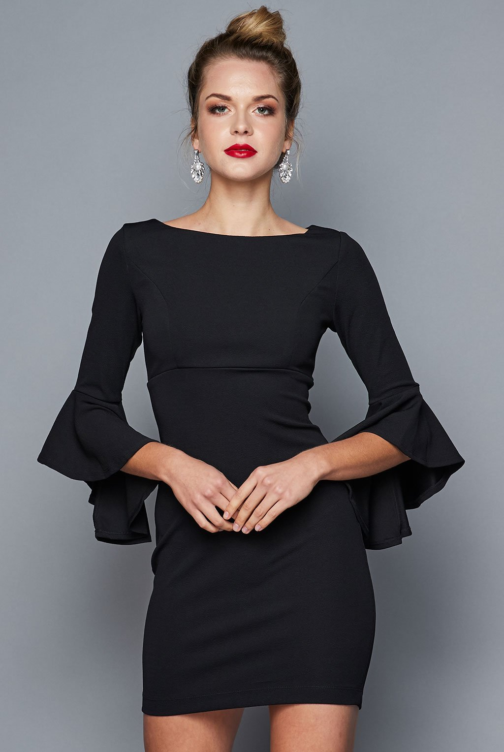 Teeze Me | Ruffle Sleeve Sheath Dress | Black - Teeze Me