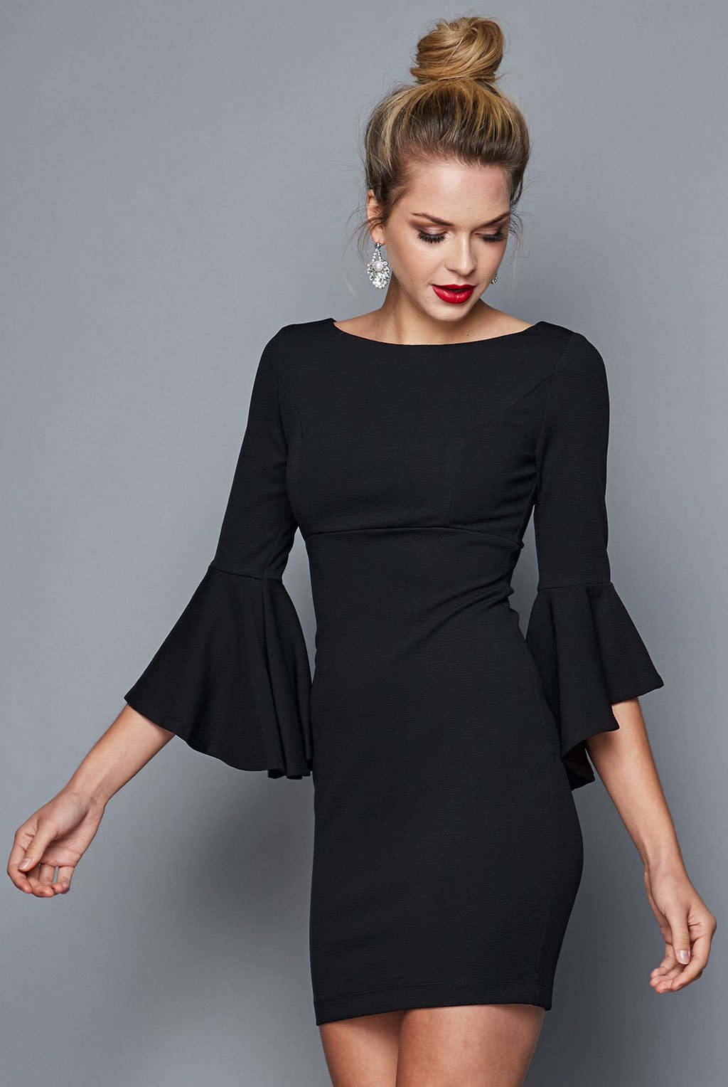 Teeze Me | Ruffle Sleeve Sheath Dress | Black