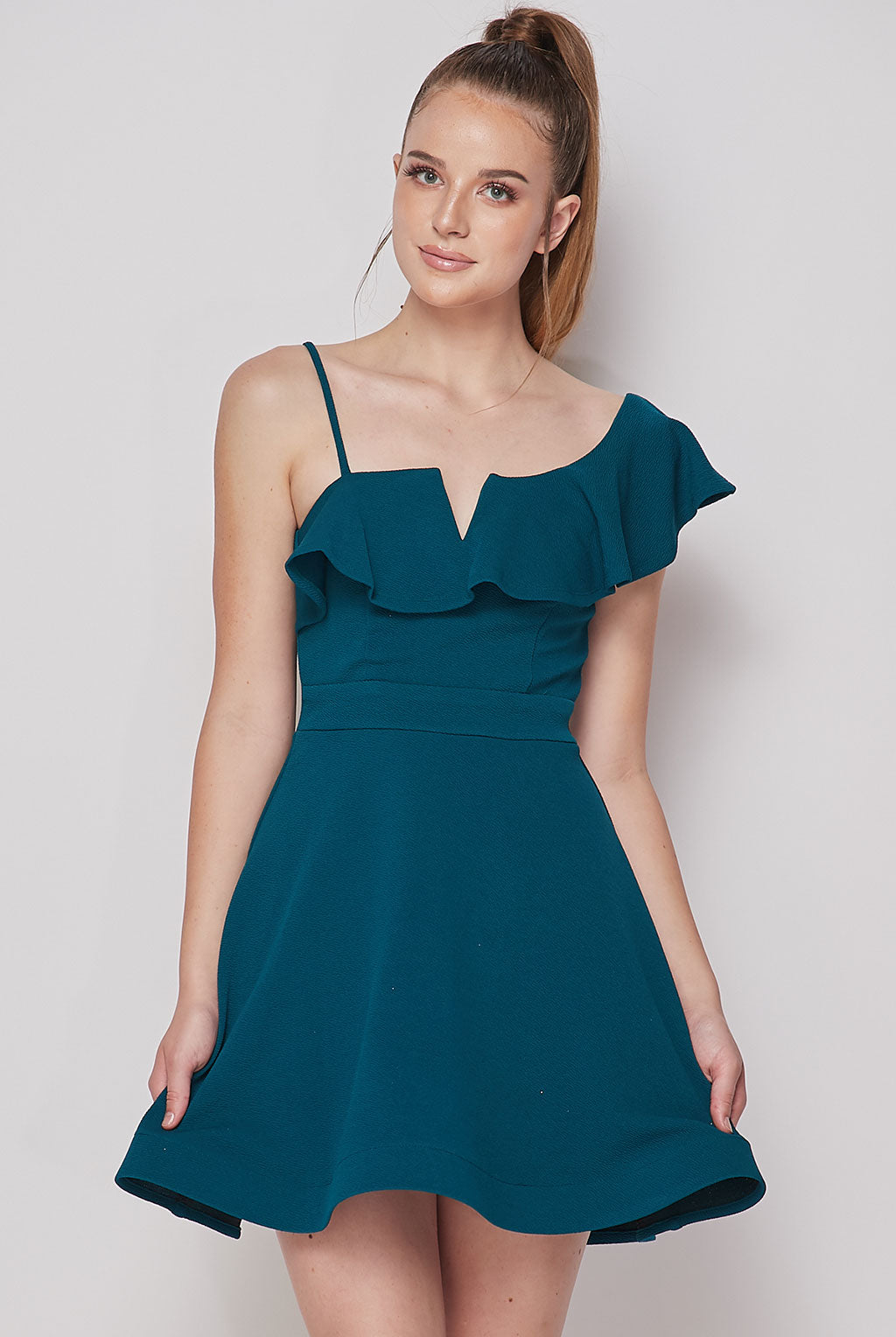 Teeze Me | One Shoulder Ruffle Neck Dress | Dark Teal