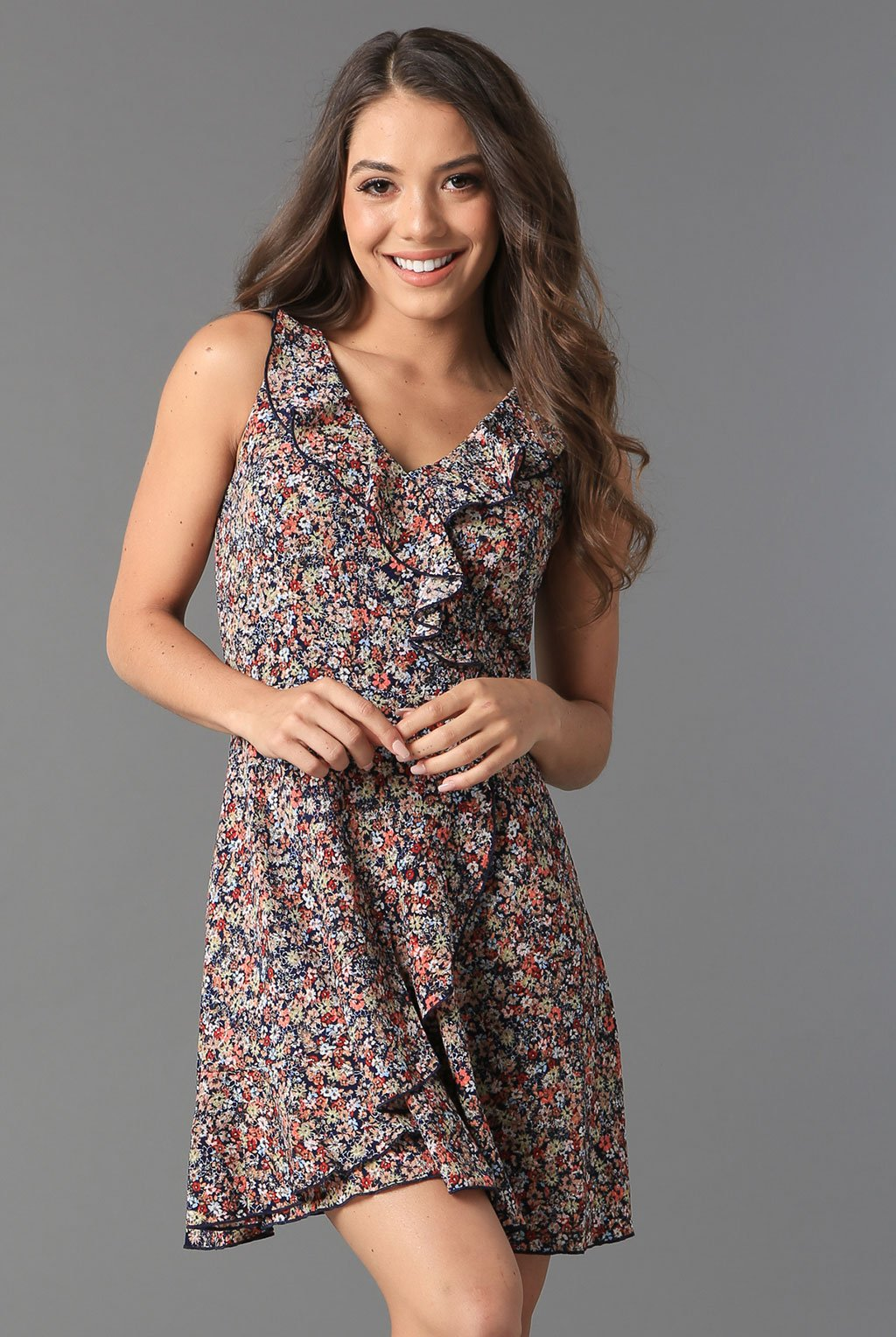 Teeze Me | Sleeveless Floral Ruffle Faux Wrap Dress  | Navy/Multi | Teeze Me Juniors Apparel
