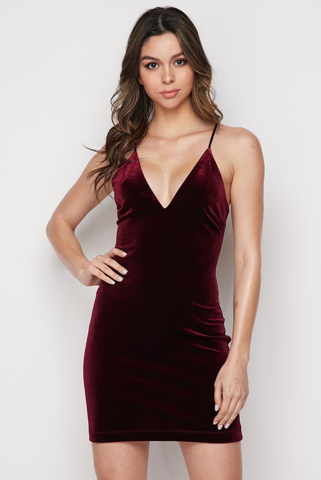 Teeze Me | Sleeveless Spaghetti Strap Deep V Neck Bodycon Dress  | Burgundy