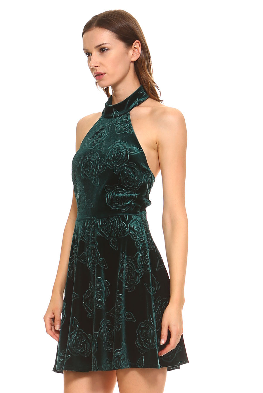 Teeze Me | Sleeveless Halter Choker Neck Floral Embossed Velvet Party Dress  | Emerald